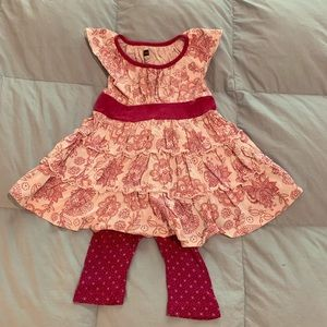 Tea Collection baby ruffle dress leggings 6-12